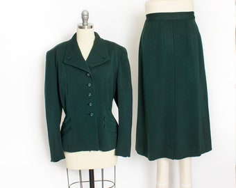 Vintage 1940s Suit - Green Gabardine Wool Fitted Jacket & Skirt Ensemble 1950s Set - Large L