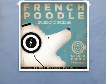 French Poodle dog Records illustration giclee signed artist's print by Stephen Fowler