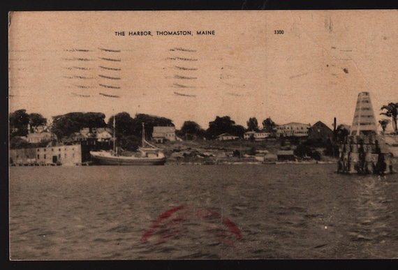The Harbor + Thomaston, Maine + 1949 + Vintage Photo Postcard