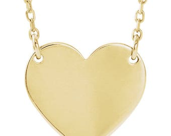 14K Gold Heart Necklace (14K Rose Gold, 14K White Gold, or 14K Yellow Gold) / Love Necklace