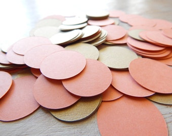 Circle Confetti -  Gold Leaf and Coral 1 Inch