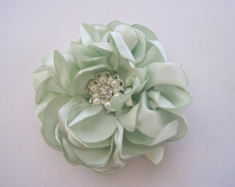 Beautiful Mint Apple  Green Satin Flower Bridal Hair Clip with Pearl and Rhinestone Accent Bride Bridesmaid Mother of the Bride Prom