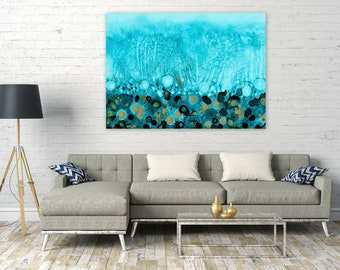 Extra Large Digital Print, Coastal Home Decor, Ocean Abstract Wall Art, Large Scale Printable, Turquoise Gold Horizontal Painting