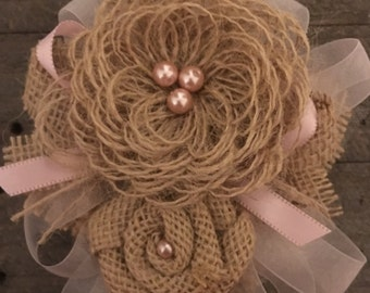 Rustic Country Wedding Corsage Garter Pin & Clip Loop Burlap Flowers Baby Girl Shower Headband