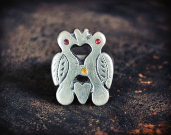 Antique Berber Love Birds Ring - Size 6.5 - Berber Jewelry - Tribal Silver Ring - Berber Ring - Moroccan Jewelry