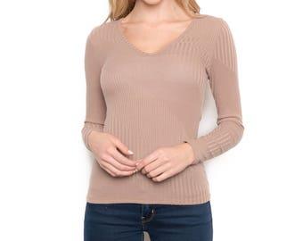 Textured rib knit top