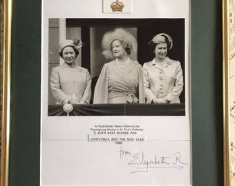 Queen Elizabeth Queen Mother Signed Christmas Card Framed 1980