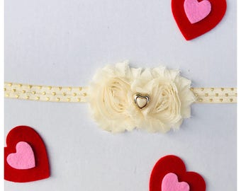 Cream & Gold Baby Headband / Baby Headband / Cream Flower Headband / Baby Girl Accessories