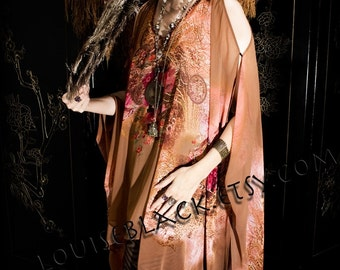 Limited Edition Opium Dreams Caftan Tassel Dress in Pink and Beige Chiffon with Garnets by Louise Black