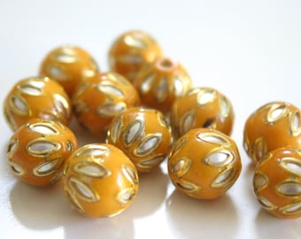 SALE Mustard floral spheres - Floral Cloisonné Meena beads (2) 12mm