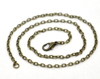 "12 pcs. Antique Bronze Textured Chain Link Necklaces 16"" - (3.5mm x 2.5mm Links) - Lobster Clasps - Claw Clasps"