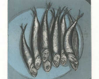 Anchovies, Original Etching of Fish, Blue Version, gift for foodie or fisherman