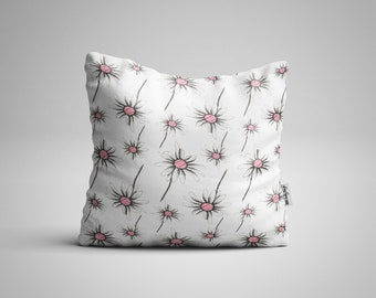 Daisy Pattern Cushion, Faux Suede Flower Cushion, Floral Pillow