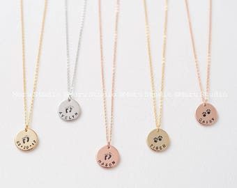 New Mom Necklace - Baby Feet Print and Baby Name or Birth Date, Paw Print Necklace, Personalized New Mommy Future Mom Gift, Push Present 163