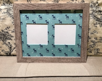 Photo Mat Made With Reindeer Fabric (Includes 8 x 10 wall frame with two openings for 4x4 photos)