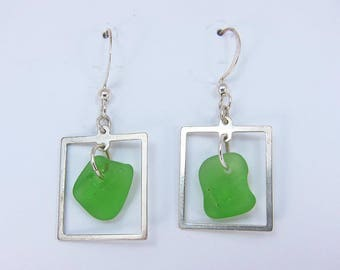 Framed! Earrings with green sea glass from Cape Breton, Nova Scotia, Canada framed in sterling silver on a nickle-free hook