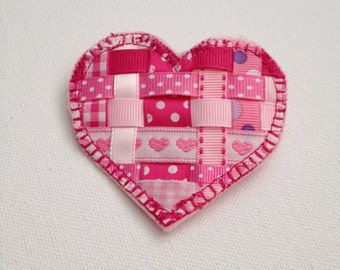 Handmade Heart Pin, Valentines Day Gift, Fabric Jewelry, Handcrafted Jewelry, Textile Jewelry, Original Design