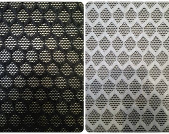 Sheer Knit Mesh w/ Hexagon Overlay Pattern Stretch Polyester Spandex Fabric - 52 to 54 Inches Wide - By the Yard or Bulk