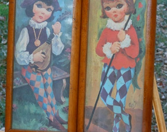 """Vintage Goji """"Big-Eyed"""" Kids in Harlequin"""