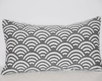 Pillow - 50 x 30 cm - fabric cover * pattern * waves Print - gray
