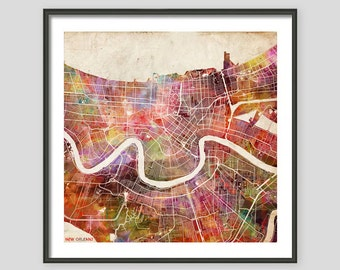NEW ORLEANS Map, Watercolor Painting, Giclee Fine Art, Modern Abstract, Poster Print, Wall Art, Home Decor, Decoration