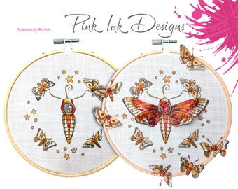Embroidery pattern, moths in hoop.