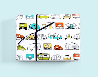 Vintage Trailer Caravan Gift Wrap / Trailer Wrapping Paper / Airstream Paper / Retro Trailers / Camper Gift Wrap / Cute Wrapping Paper