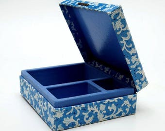 Powder Blue Paisley & Felt Treasure / Trinket Box - 3 Compartments - For Jewelry and Whatnots