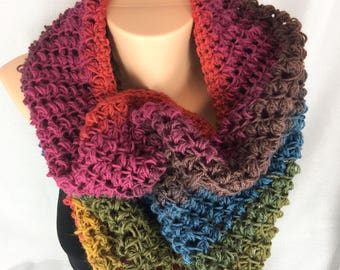 Circle scarf, Infinity scarf, crochet cowl scarf, wrap scarf, tube scarf, snood, oversize cowl scarf, neck warmer, lightweight scarf, scarf