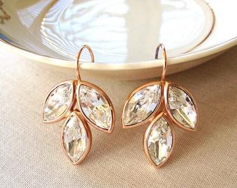 Swarovski rose gold crystal earrings, rhinestone, leaf, leaves, earrings, bridesmaid, rose gold, bridal, wedding, jewelry, Swarovski