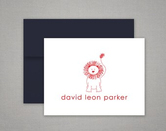 Personalized Stationery Gift Set - Thank You Notes with Baby Lion - Personalized Stationary