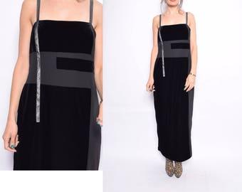 Vintage 90's Black Velvet Maxi Dress /Strappy  Maxi Velvet Dress - Size Large