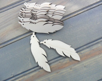 "Wood Feather Earring Blanks Laser Cut Wood Jewelry Shapes 3"" x 7/8"" x 1/8"" (7cm x 2cm x 0.3cm) - 12 Pieces"