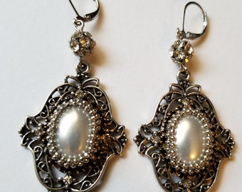 Pearl and Oxidized Silver Brooch Earrings