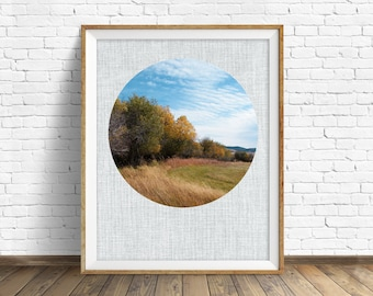"landscape photography, large art, large wall art, printable art, instant download printable art, round photograph, art - ""In the Hay Field"""