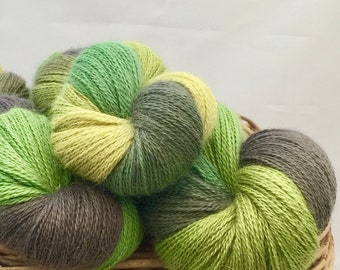 Hand Dyed Lace Weight Yarn 'Lichen'  Green Grey Alpaca / Silk Knitting Yarn Shawl Yarn