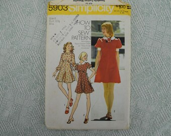Simplicity Sewing Pattern 5903 dress from 1973 size 8