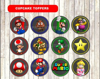 Super Mario Bros Chalkboard Cupcakes toppers, printable Mario Bros Toppers, Chalkboard Mario Bros Cupcakes toppers - Instant download