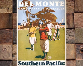 Del Monte Southern Pacific Travel Ad, Vintage Golf Art, Golfing Ad, Travel Ad,  Vintage Art, Giclee Art Print, fine Art Reproduction