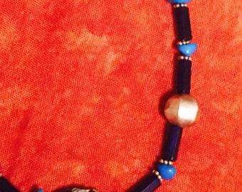 Turquoise Necklace with Enamel Pendant