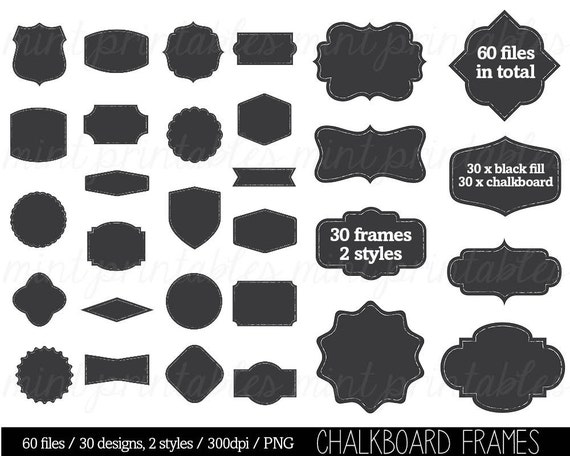 Chalkboard Frame Borders Clip Art Clipart decorative labels