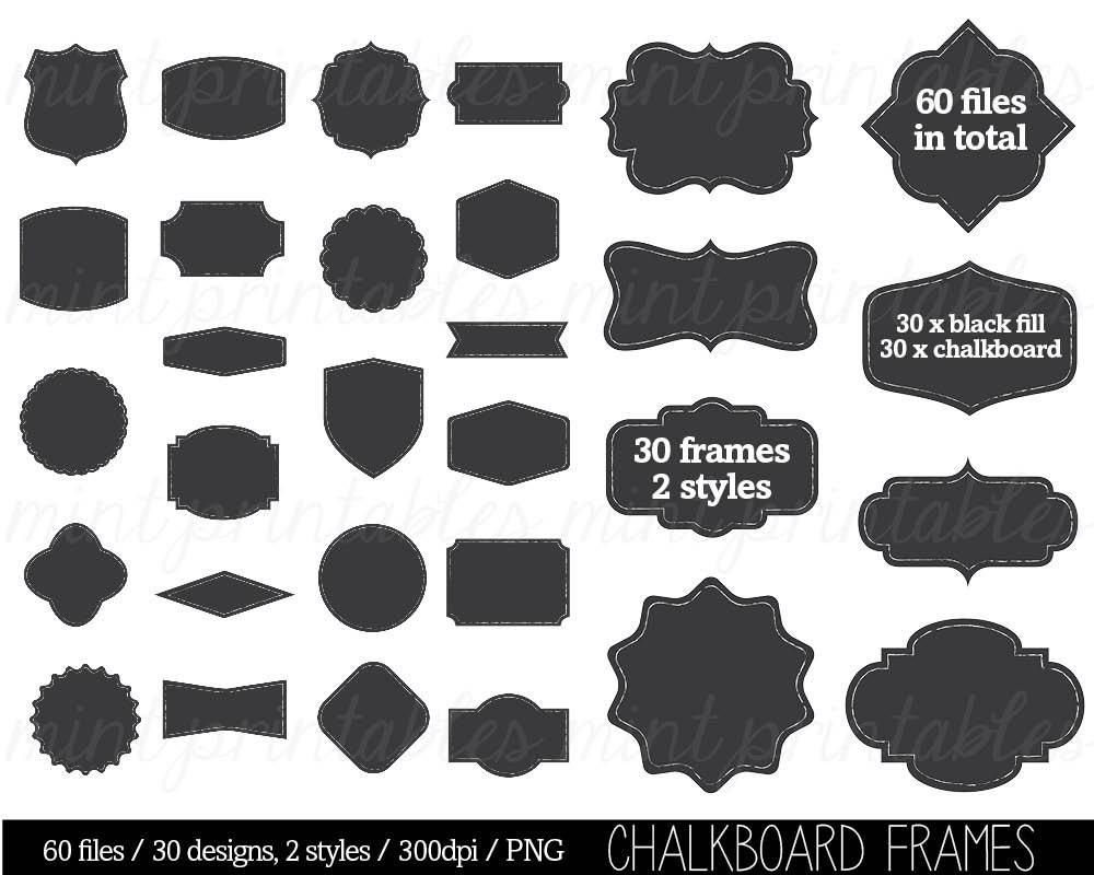 Chalkboard Frame Borders Clip Art Clipart Decorative Labels