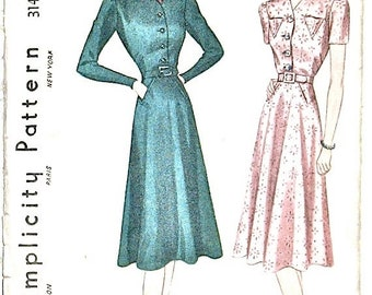 Spring Sale 1930s Dress Pattern Misses' Dress Simplicity 2691 Vintage Sewing Pattern  Women's Dress  Bust 32 inches.