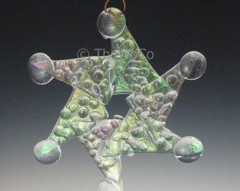 WHIRL Crystalline Clear Iridized Snowflake, Fused Glass Ornament Suncatcher