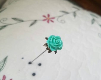 Victorian Antique Inspired Green Rose & Filigree Brass Hat Pin Vintage Style Beads Stick Pin. Strong, DISPLAY or USE!