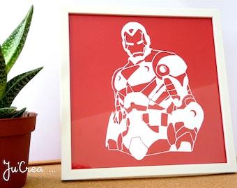 Frame Papercut Kirigami Avenger Iron Man.