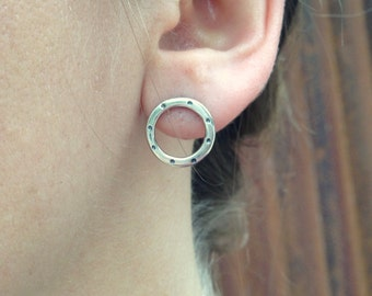 Sterling Circle Stud Earrings - stamped  medium
