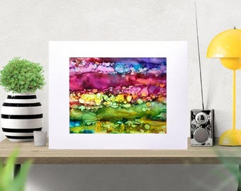 Colorful Boho Abstract Painting, Original Alcohol Ink Art on Yupo Paper in 11x14 Mat, Abstract Watercolor, Boho Decor Art