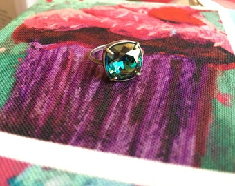 Aqua Champagne Swarovski Crystal ring in Antique Silver Vintage Cushion Square