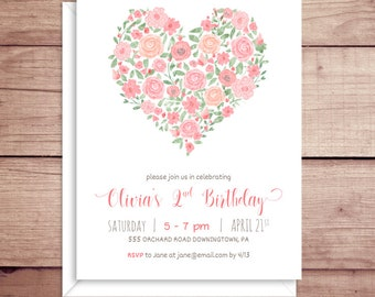 Girl Birthday Party Invitations - Floral Birthday Invitations - Rose Party Invitations - Heart Party Invitations - Baby Girl Invitations